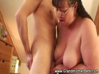 chubby granny rides slutty youthful cock