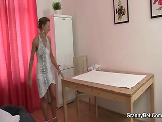 granny masseuse sucks and rides his pecker