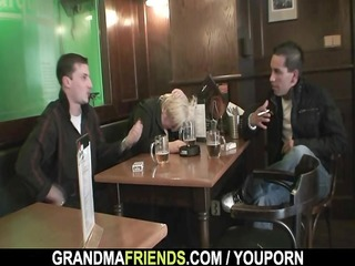 dudes gangbang totally drunk granny